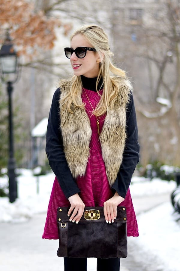 Faux Fur Vest and Clutch