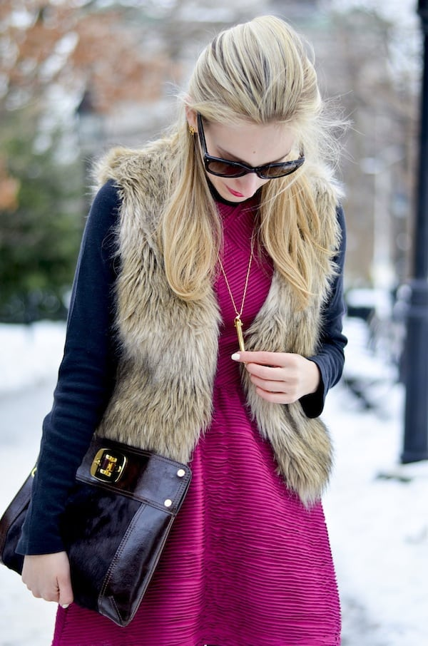 Pink Dress Faux Fur