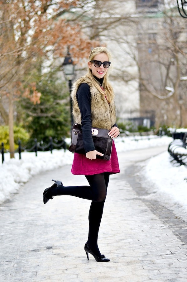 Pink Dress Faux Fur Vest