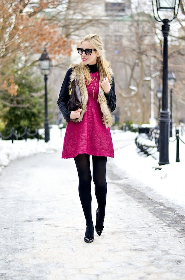 Pink Dress and Faux Fur
