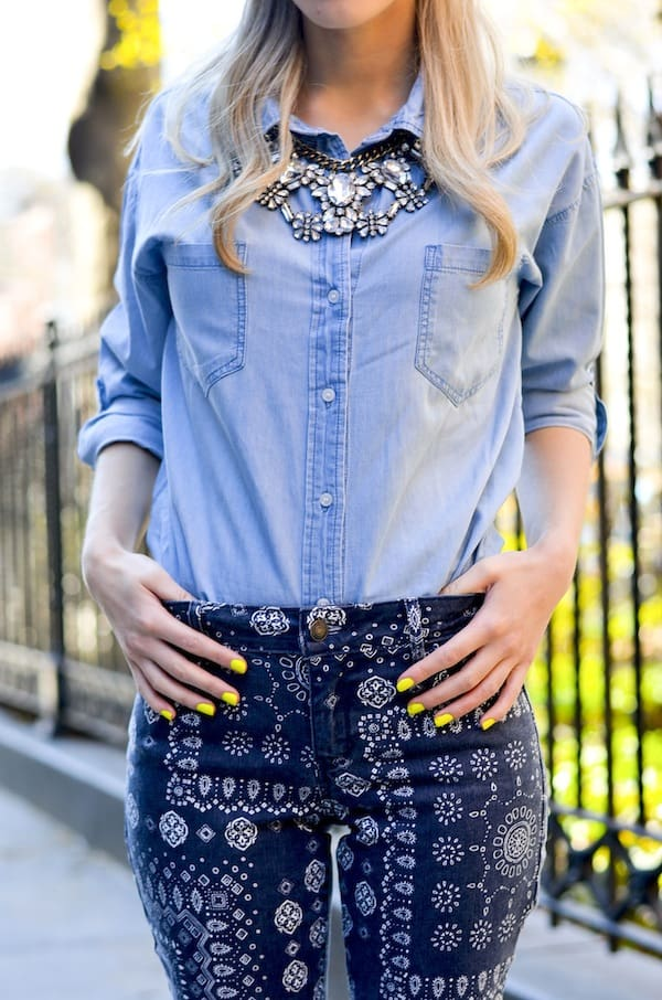 Chambray Shirt Crystal Necklace