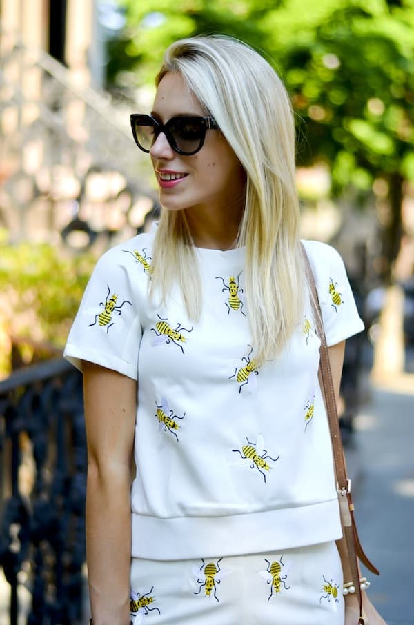 Chic Wish Bees Embroidered Top and Shorts Set in White
