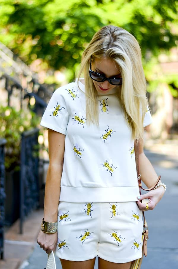 Chic Wish Bees Embroidered Top and Shorts Set