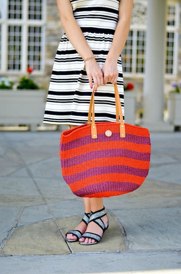 Tory Burch Striped Straw Tote Bag