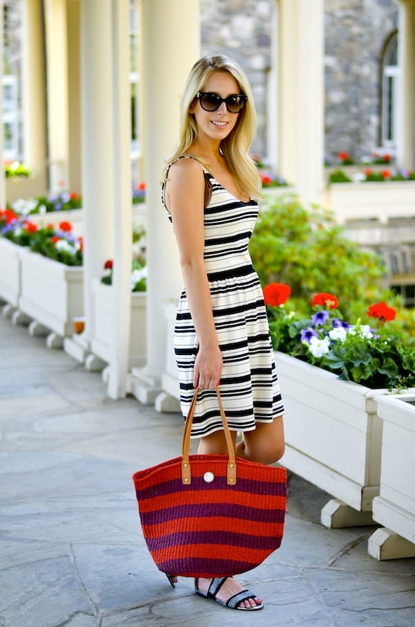Tory Burch Striped Straw Tote Bag