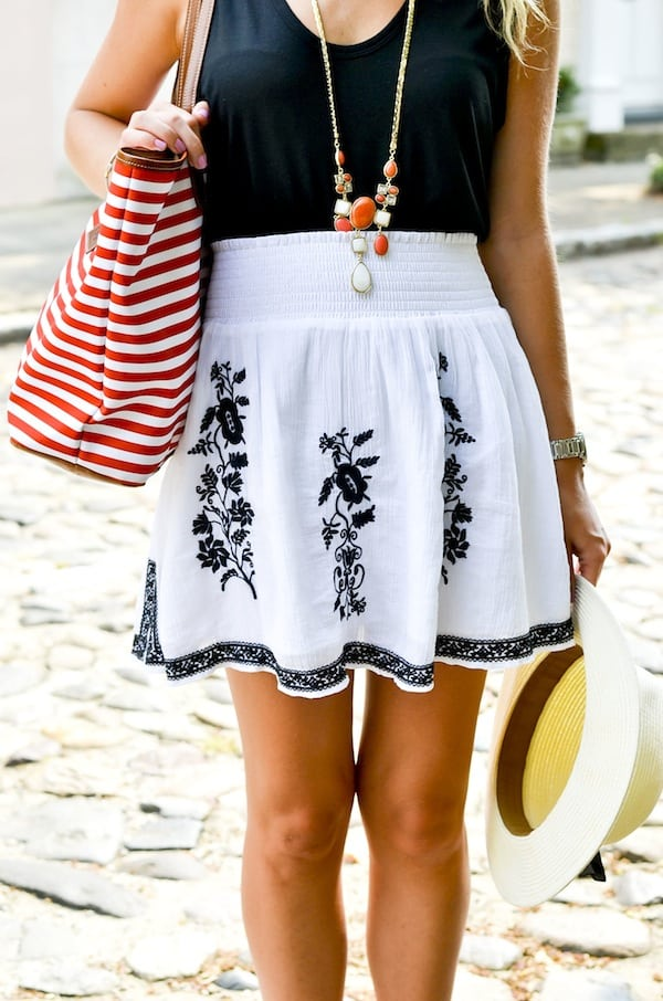 J Crew Embroidered Skirt