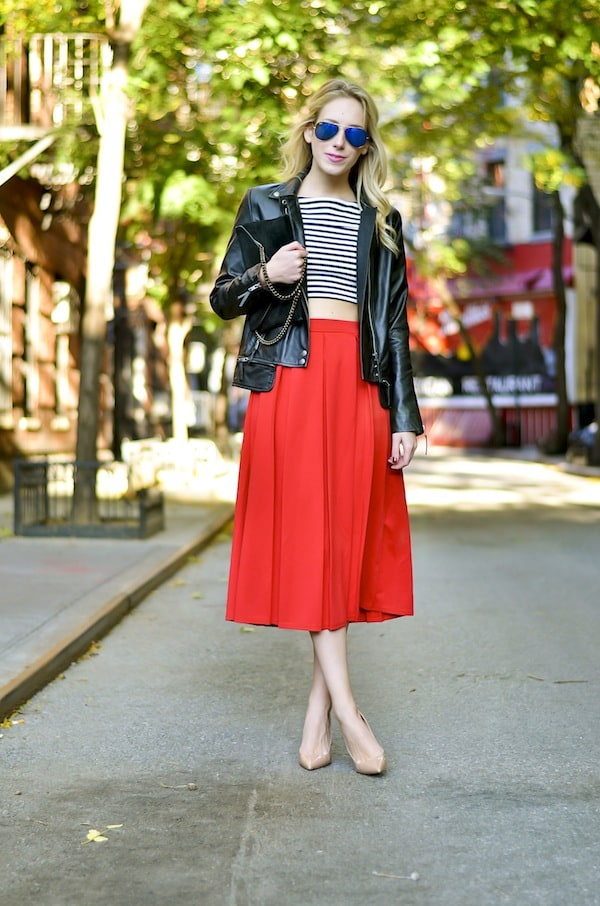Boohoo Red Midi Length Skater Skirt