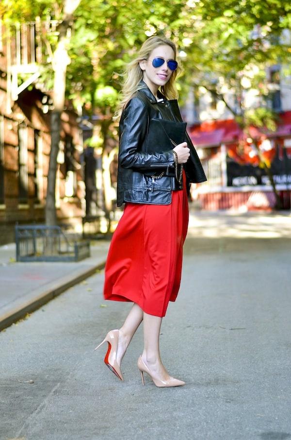 Boohoo Red Midi Length Skater Skirt