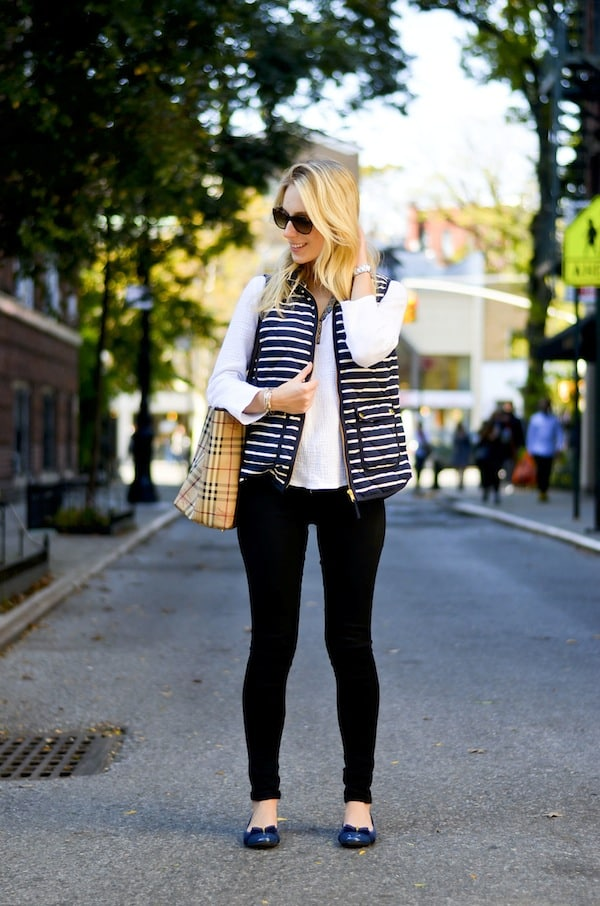 J Crew Factory Striped Puffer Vest