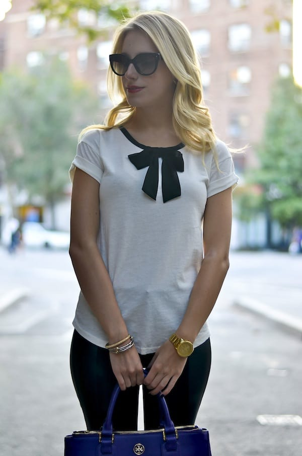 J Crew Roll Sleeve Bow Top