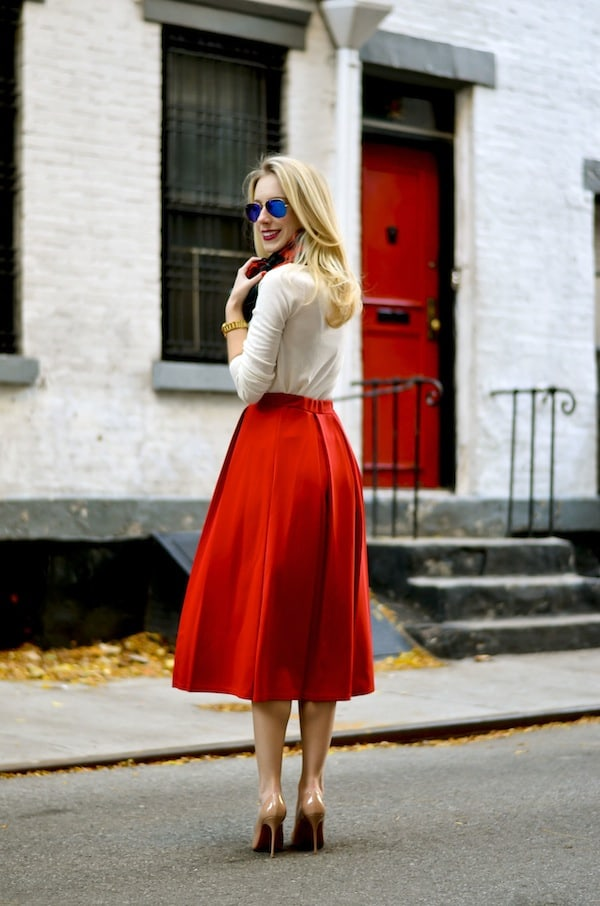 Asos Red Pleated Midi Skirt