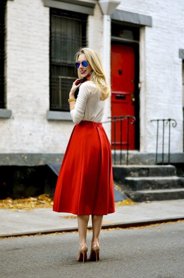 Asos Red Pleated Midi Skirt