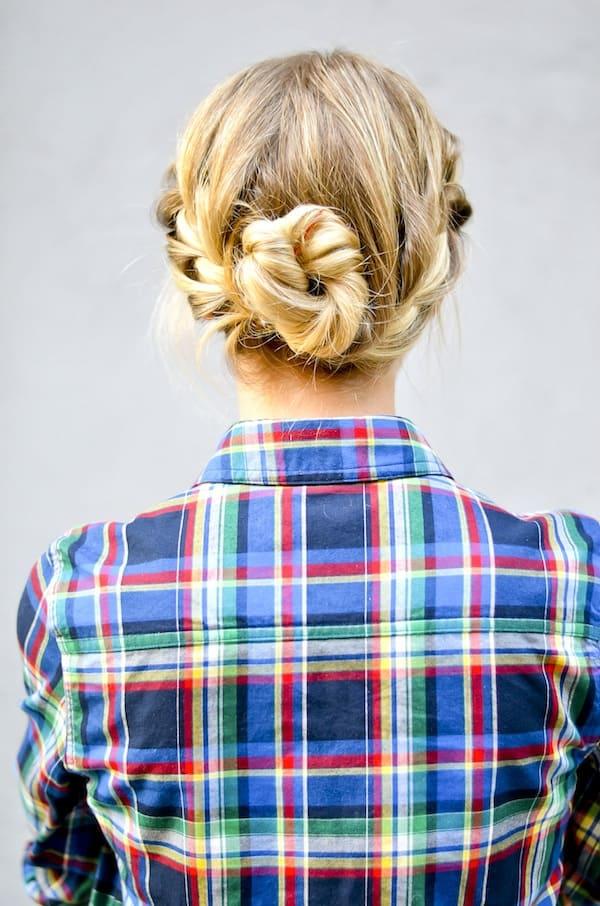 Double French Braided Bun Hair Tutorial