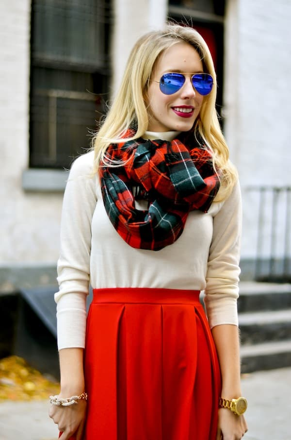 Old Navy Red Plaid Scarf Scarf Old Navy Plaid