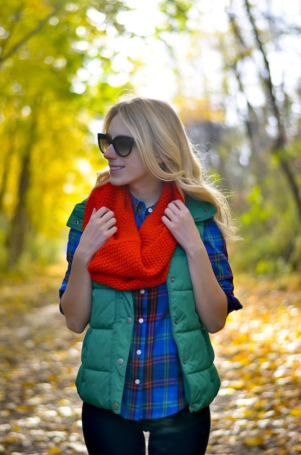 Old Navy Puffer Vest Plaid Shirt