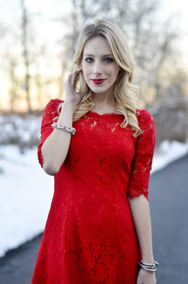 Eliza J Red Lace Tulip Dress
