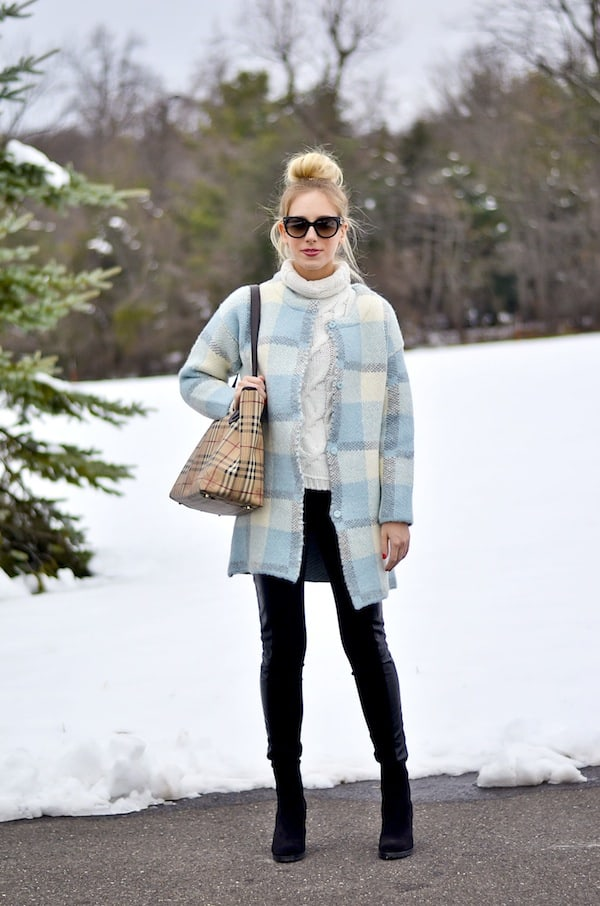 JOA Plaid Cardigan Coat