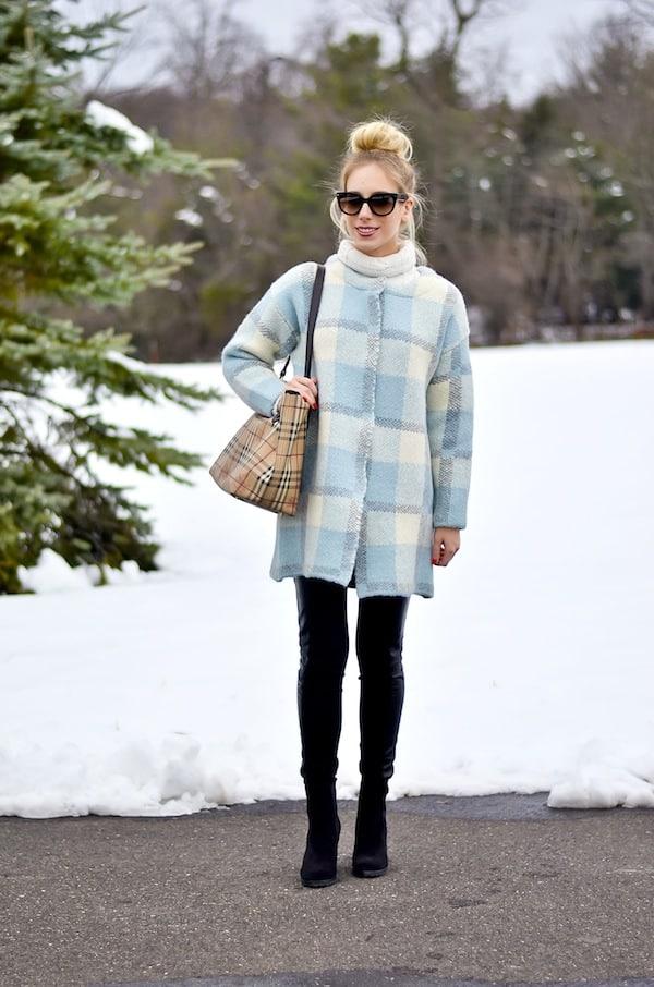 JOA Plaid Cardigan Coat