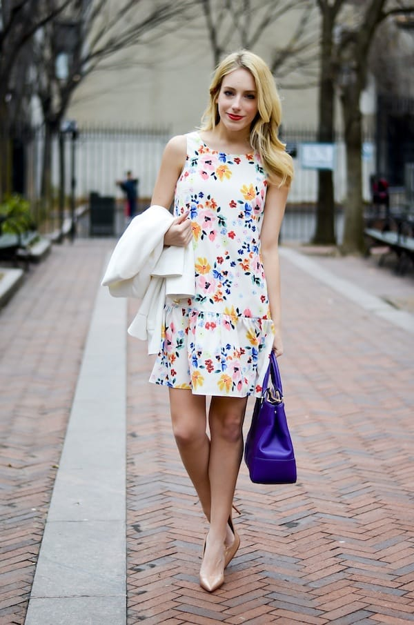CeCe by Cynthia Steffe Floral Drop Waist Dress