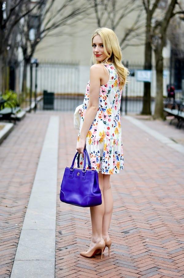 CeCe by Cynthia Steffe Floral Drop Waist Dress
