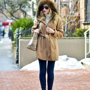 Ellen Tracy Faux Fur Trim Coat