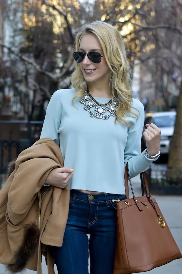 Katie's Bliss Powder Blue Crop Sweater