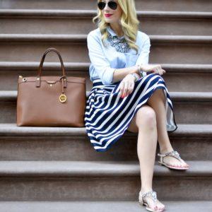 Navy and White Stripes Tulip Skirt