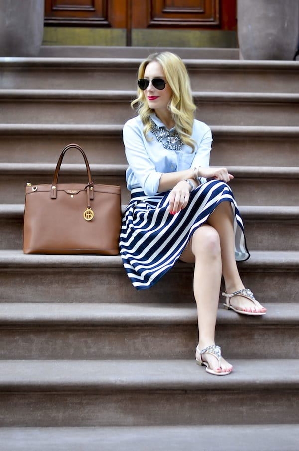 Navy and White Stripes Tulip Skirt