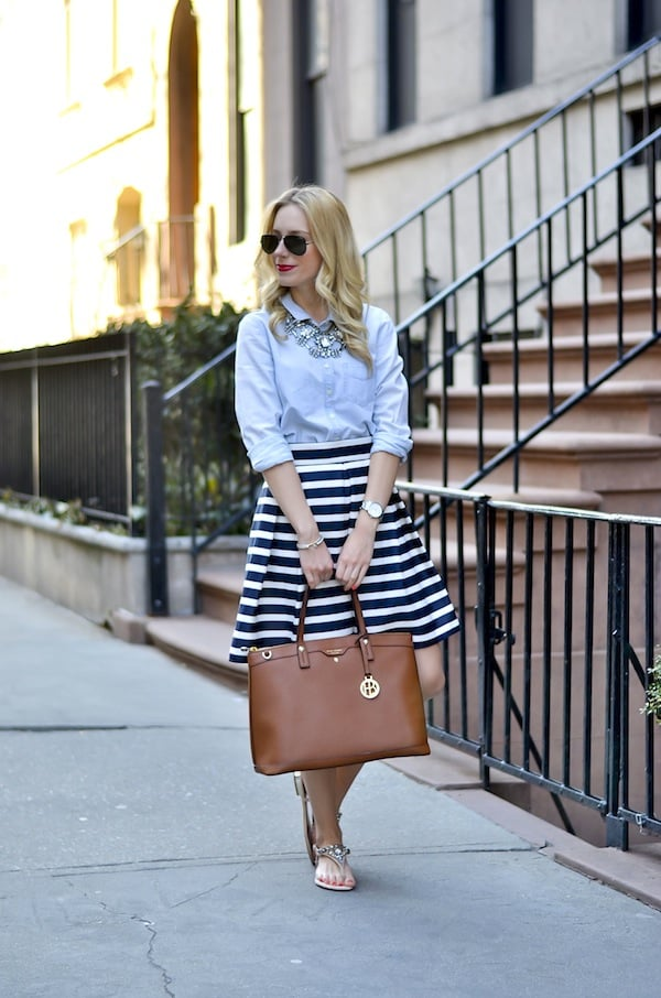 Navy and White Stripes Tulip Skirt_6