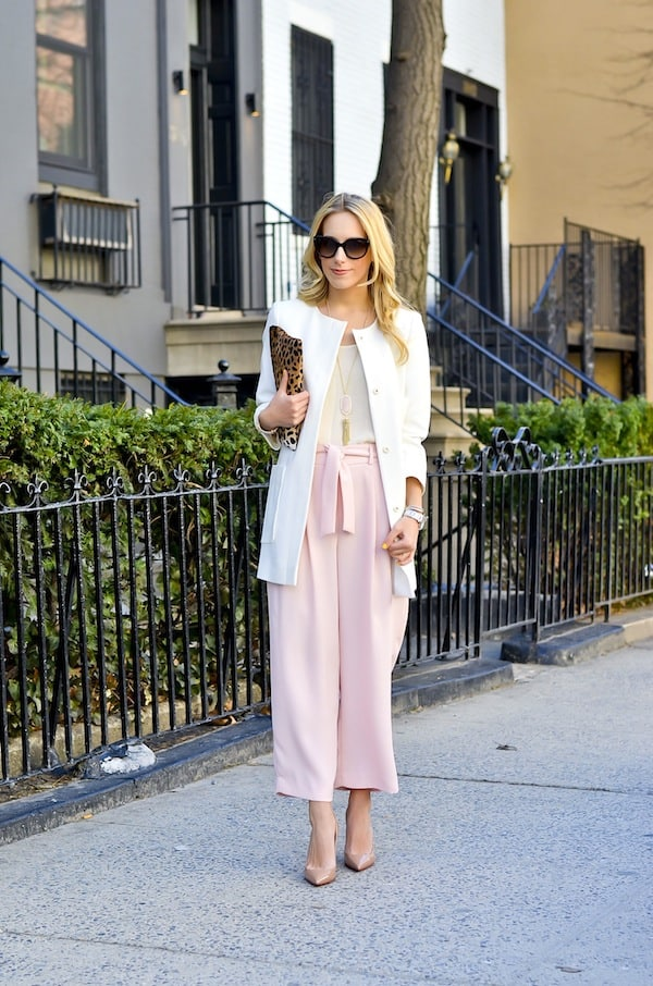 Blush Pink Belted Pleated Pants