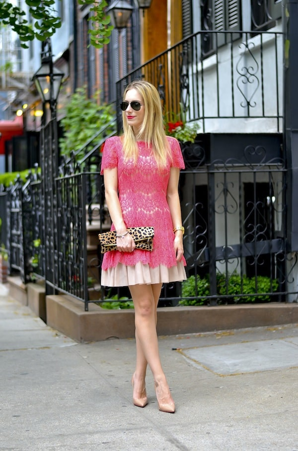 Betsey & Adam Lace Fit Flare Dress