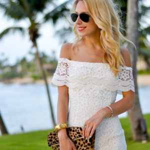 WYLDR Off Shoulder White Lace Dress