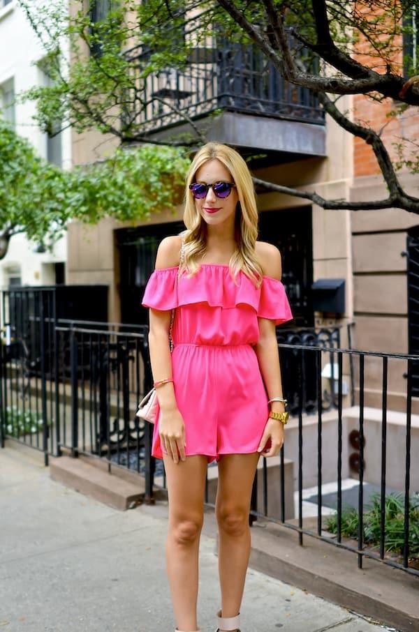 Pink Off Shoulder Romper