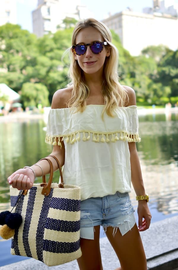 Boohoo Off Shoulder Pom Pom Top