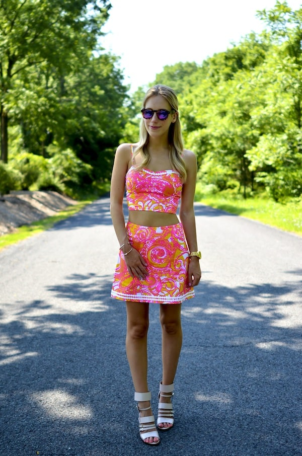 Lilly Pulitzer Crop Top  and Skirt Set