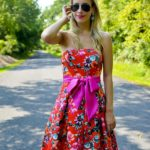Eliza J Floral Print Strapless Dress