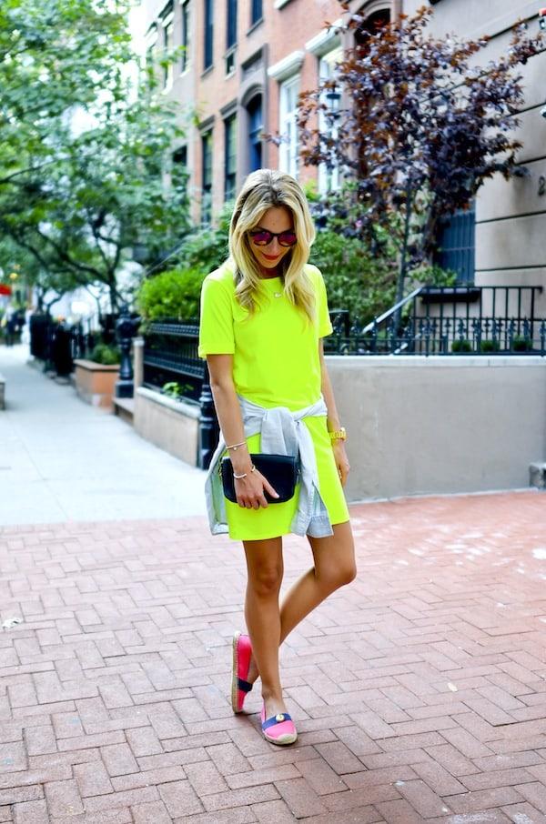 Neon Yellow T-Shirt Dress
