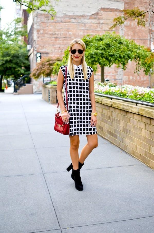 Black and White Check Shift Dress