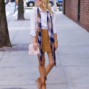 Corduroy Skirt + Plaid Scarf