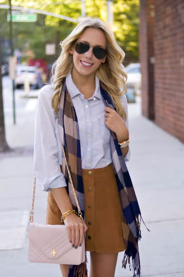 Corduroy Skirt + Plaid Scarf