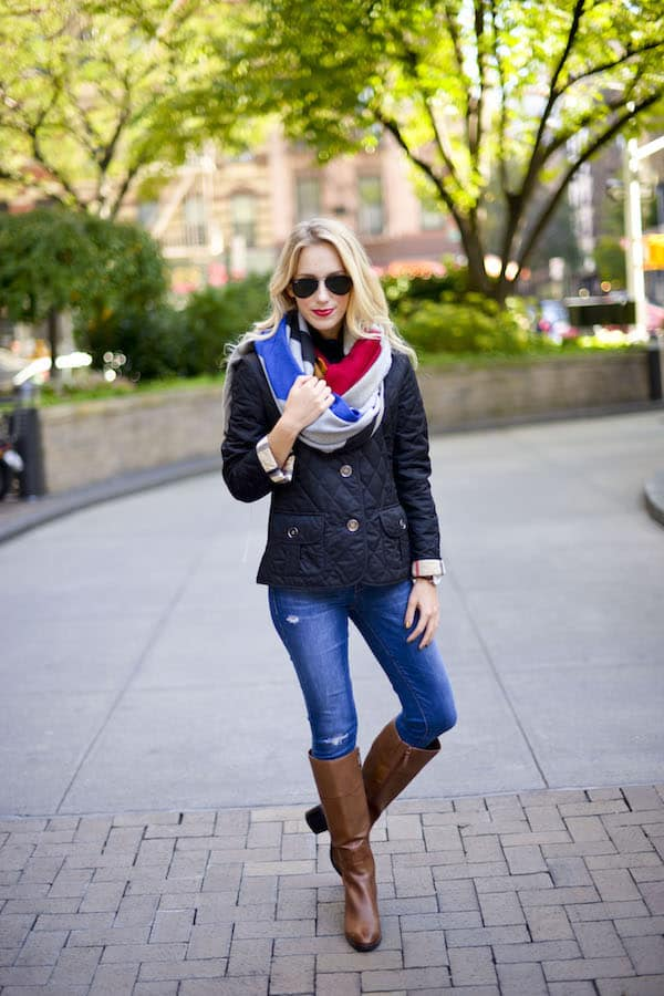 Blanket Scarf and Burberry Quilted Jacket