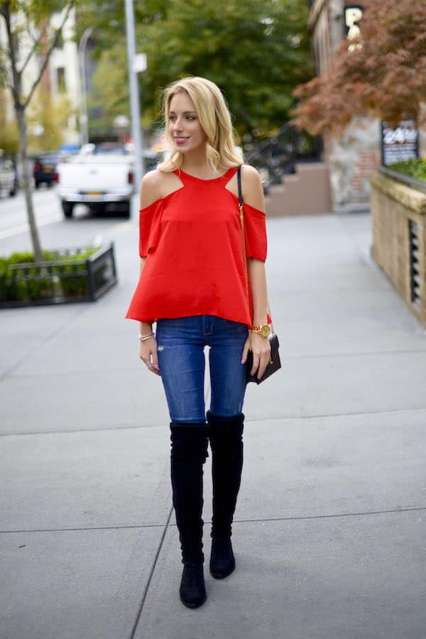 ae269d092d1 Red Off Shoulder Top & Over The Knee Boots | Katie's Bliss