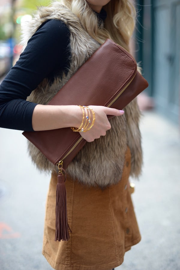 Hobo Leather Foldover Tassel Clutch