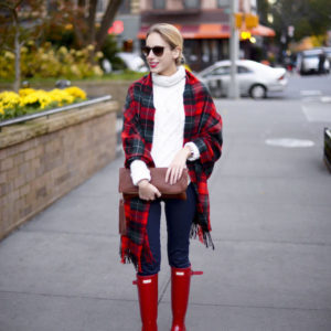Red Hunter Boots Plaid Scarf