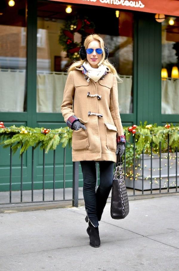 Plaid Lined Toggle Coat