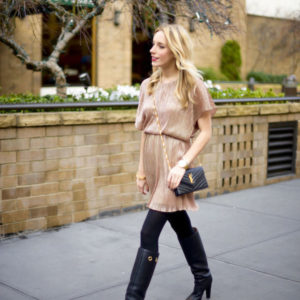 Boohoo Metallic Skater Dress