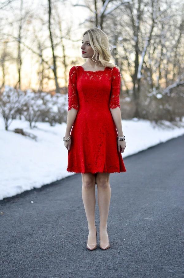 Eliza J Red Lace Dress
