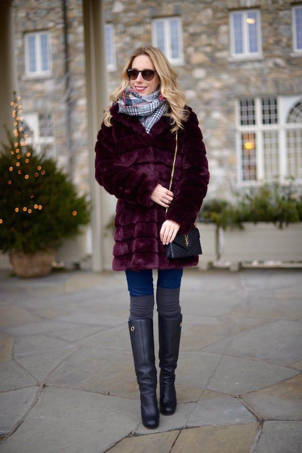 Eliza J Maroon Faux Fur Jacket
