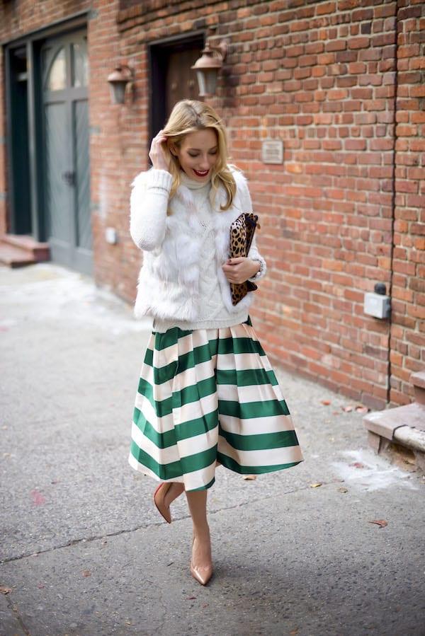 Green Stripe Skirt