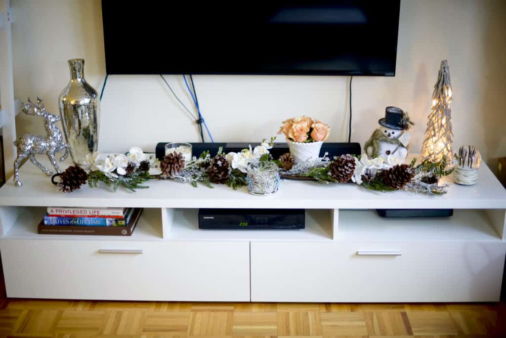 Katie's Bliss Media Console Holiday Decor